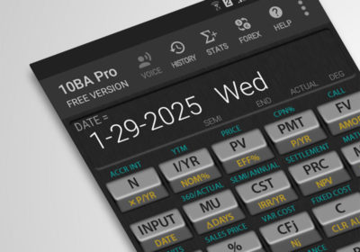 Inline functions inside the 10BA Financial Calculator for Android