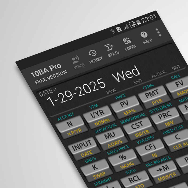 Inline function inside 10BA Financial Calculator for Android
